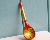 Vintage Hand Painted Wooden Spoon from Russia / Soviet Union - Red, Green and Gold