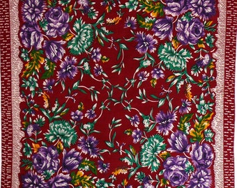 "Vintage Russian Scarf - Purple, Yellow Green Flowers and Leaves on Burgundy Red Brown Background - 28"" inches - From Russia / Soviet Union"