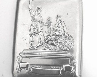 Vintage Cigarette Case / Business Card Holder / Metal Wallet - Moscow Monument - 1950s - from Russia / Soviet Union / USSR