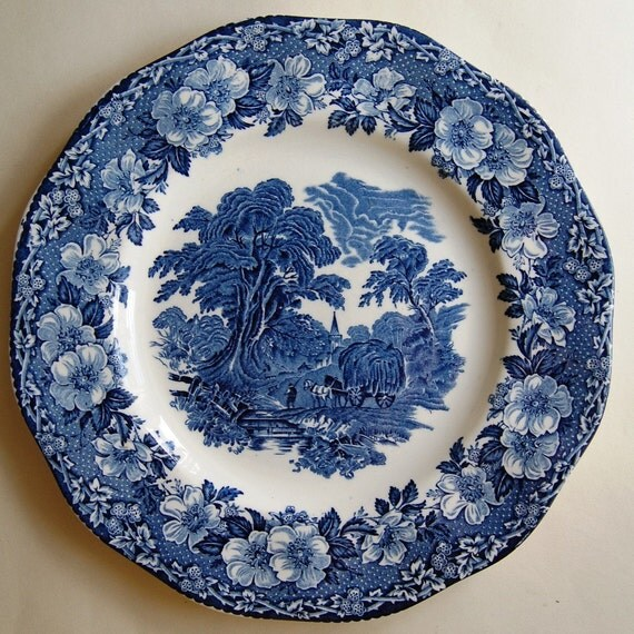 Blue and white wedgwood plate decorative platter woodland for Wedgewood designs