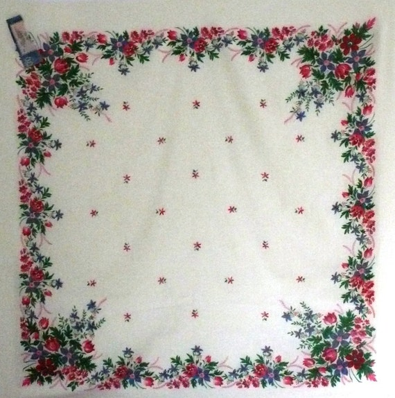 "Vintage Russian Head Scarf Shawl - Pavlovo Pavlov Posad - Floral on Ivory - Brand New - 38"" inches square - From Russia / Soviet Union"