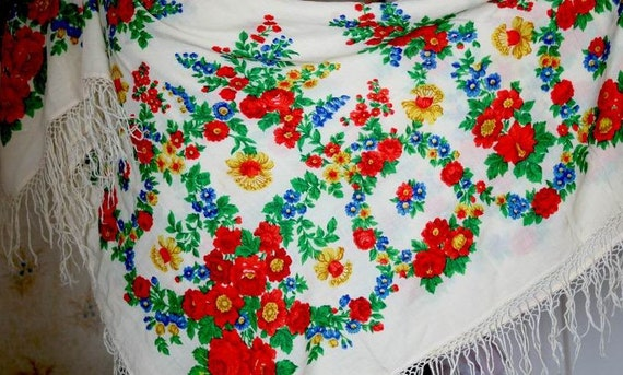 """Vintage Large Shawl Head Scarf with Tassels - Floral - Flowers - Wool - 59"""" inches - From Russia / Soviet Union / USSR"""