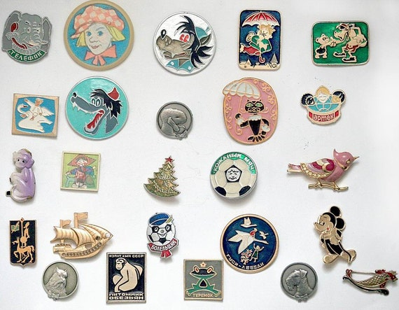 Set of 25 Soviet Vintage Badges / Pins - Kids Children Cartoon Characters - from Russia / USSR / Soviet Union
