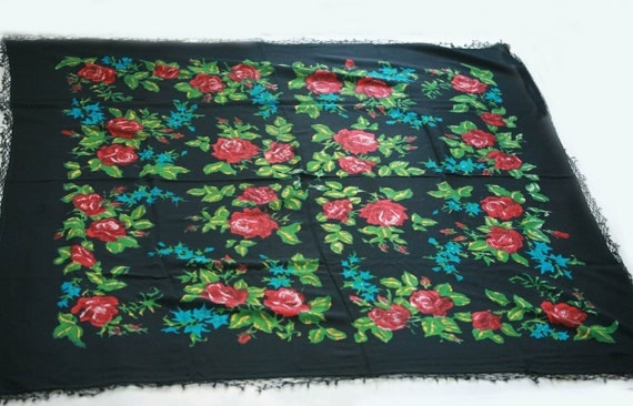 """Vintage Russian Large Shawl Head Scarf - Red Blue Green and Black Floral - Wool - 51"""" inches - From Russia / Soviet Union / USSR"""