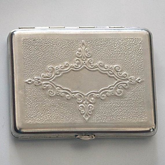 Vintage Cigarette Case / Business Card Holder / Metal Wallet - Floral Motif Vignette - from Russia / Soviet Union