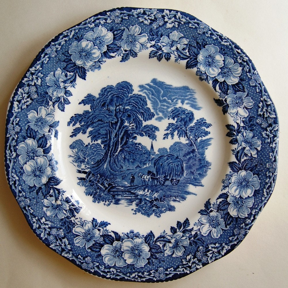 Blue and white wedgwood plate decorative platter woodland