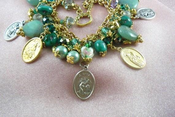 ST. RITA Vintage Style Charm Bracelet sp5 - St Christopher - St Rita - St Michael - St Patrick - FREE Ship