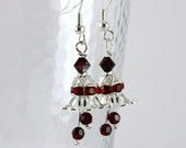 Silver Bell Earrings in Scarlet