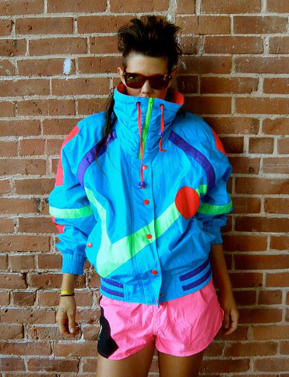 vintage 80s neon new wave ski jacket