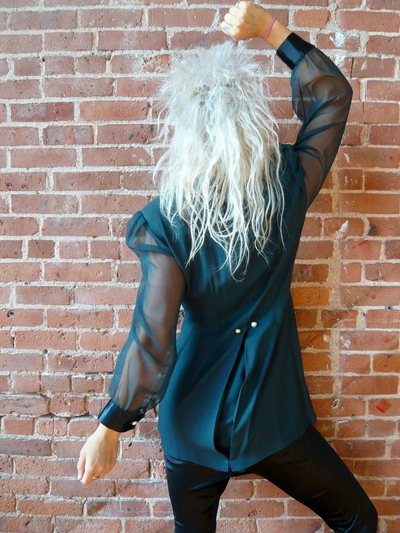 Vintage fitted goth blazer with sheer sleeves