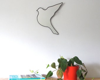 Bird Mirror Flying / Left / Handmade Wall Mirror Bird Shape Art Pájaro Espejo