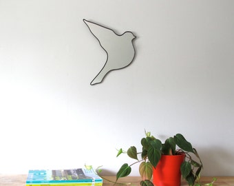 Bird Mirror Flying / Right / Handmade Wall Mirror Shape Outline Art Modern Decor