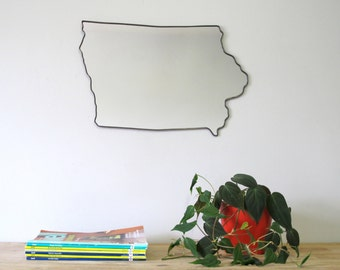 Iowa Mirror / Wall Mirror State Outline Silhouette IA Shape Art Iowa Shaped Wall Art Iowa Gift