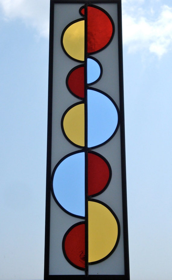 SALE / / / Stained Glass Window Half Circle No.2 in Red, Yellow, Blue and White