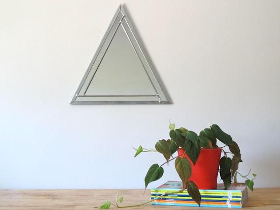 Triangle Wall Mirror Geometric / Handmade Wall Mirror Triangle Shaped Mirror Pyramid Art