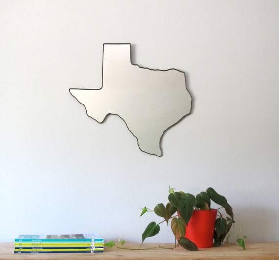 Texas Mirror / Wall Mirror State Outline Silhouette TX Lonestar State Shape Wall Art Decor