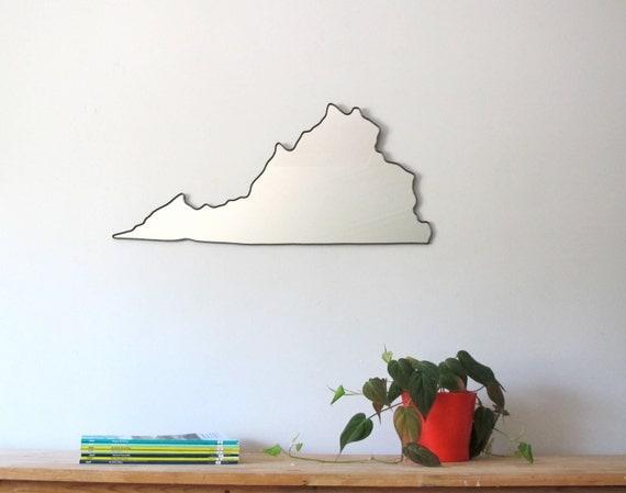 Virginia Mirror Large / Wall Mirror State Outline Silhouette VA Shape Art UVA Charlottesville Richmond
