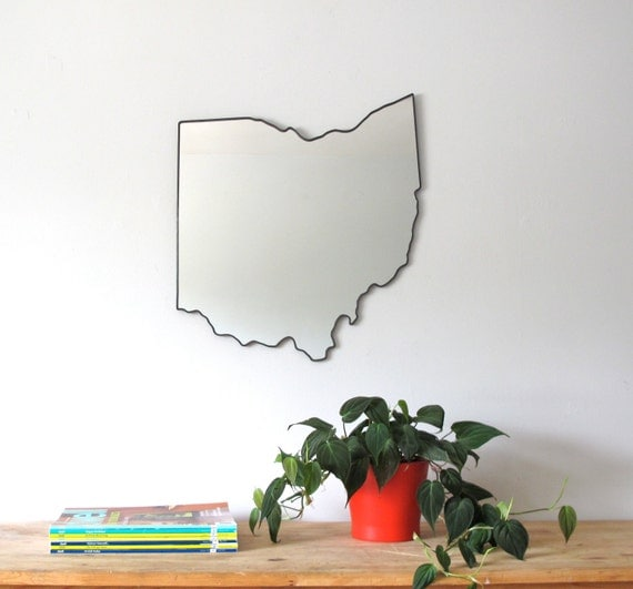 Ohio Mirror / Wall Mirror State Outline Silhouette OH Wall Art Shape Columbus OSU Buckeyes