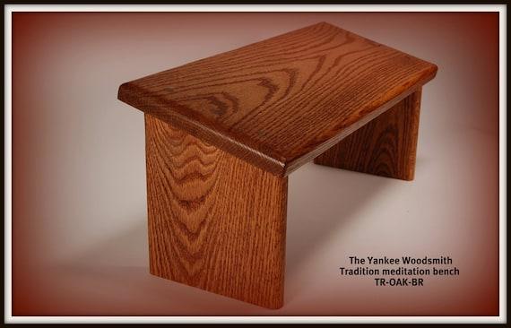 Yoga seiza style meditation bench - stool, Oak with a walnut finish