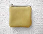 Mini Leather Pouch - Yellow and Grey