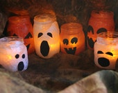 Halloween ghost & pumpkin candle holders--upcycled luminary jars
