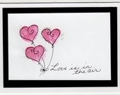 Love is in the air-- Set of 4 Heart Balloon Cards --for showers, weddings, love notes