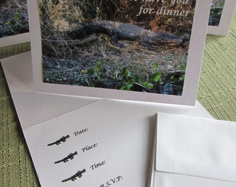 Love to have you for Dinner-- Alligator Cards --dinner invites or lunch invitations