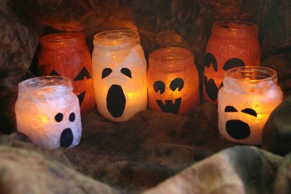 Custom Order for KOLYNGER: 2 Sets of Halloween ghost & pumpkin upcycled luminary jars