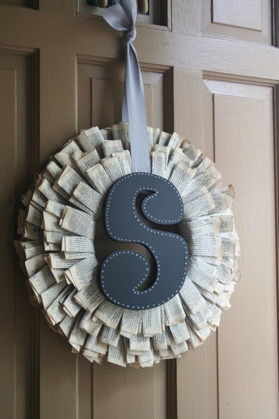 Paperback book pages Wreath with monogram -- customize with your letter of choice