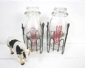 Vintage Milk Bottles with Wire Baskets Half Pint TREASURY ITEM