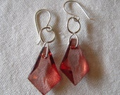 New Vintage 80's Lucite Faceted Drop Earrings, Sterling