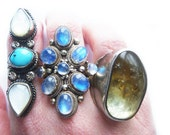 RESERVED One of a Kind Massive Vintage Rainbow Moonstone Sterling Silver Ring
