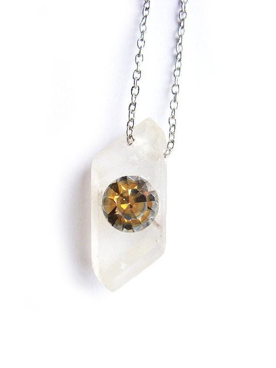 One of a Kind Geometric Cut Selenite Crystal Crystal Necklace with Vintage Swarovski Rhinestone