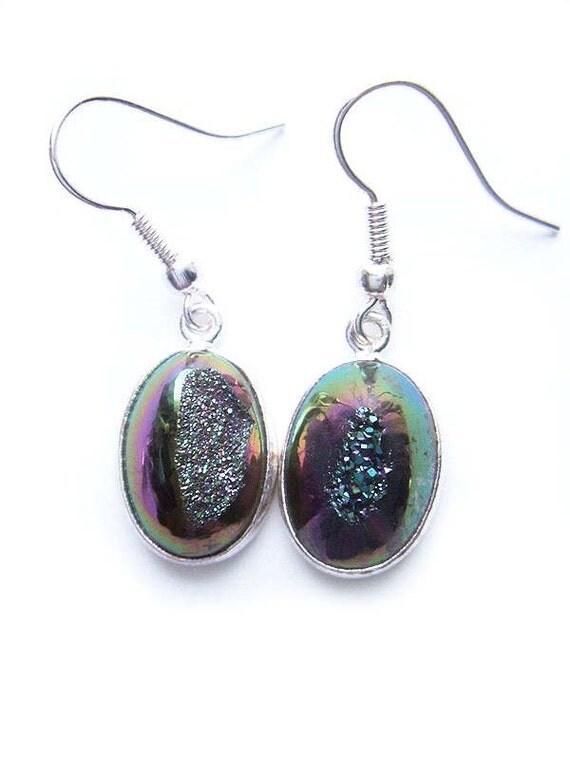 One of a Kind Metallic Rainbow Titanium Drusy Druzy Earrings