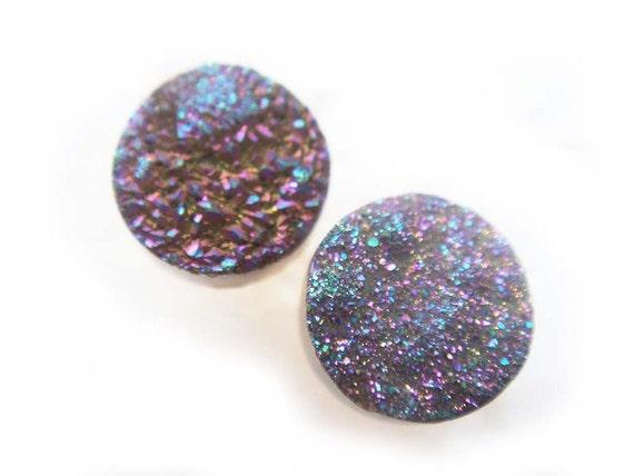 RESERVED Rainbow Titanium Druzy Earrings