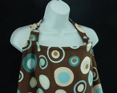 Nursing Cover, Brown and Blue Modern Dots