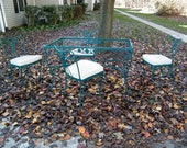 Wrought Iron Garden Set Table and 4 Chairs By Woodard Daisy Chain Design