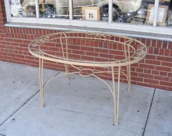 "Woodard Wrought Iron Table / Pine Crest Pattern / Oval / 52"" X 35"" / Robert Woodard Designer"