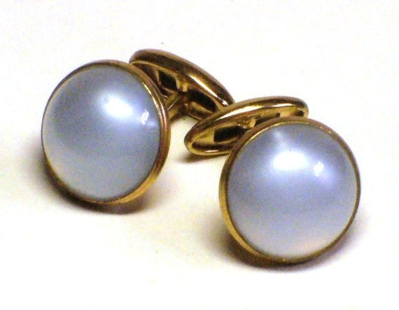 Moonglow Cabochon Cufflinks in Gold Setting