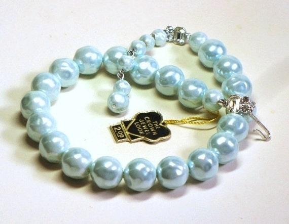1940s Laguna Icy Blue Necklace w Rhinestone Accents