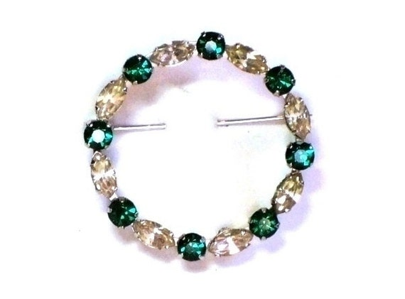 Vintage 50s Circle Brooch w Prong Set Swarovski Navette & Chaton Crystals in Silver Tone Plate