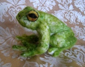 Needle felted FROG -- very cute. This animal sculpture, toy, friend, and decoration, would make a great gift.