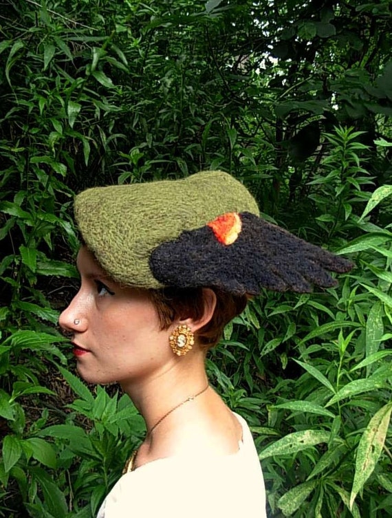 Needle Felted Red Winged Blackbird Hat