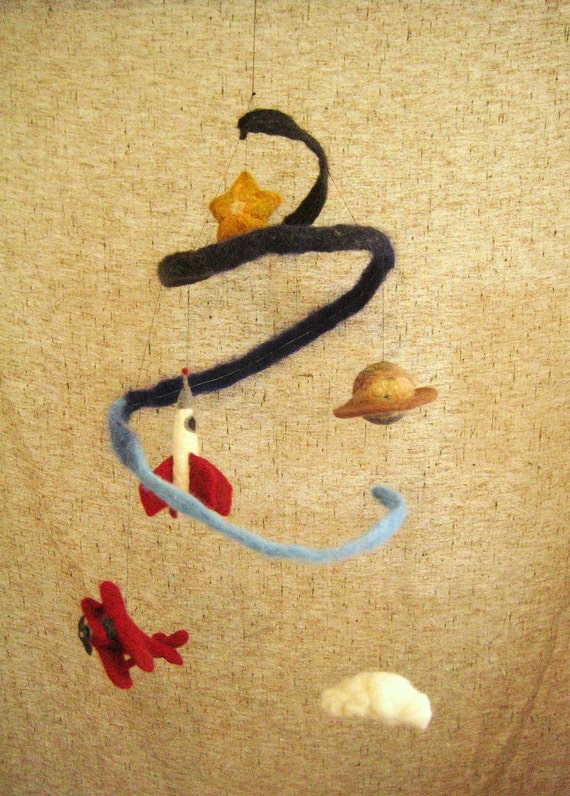 RESERVED for STEPHANIE - Needle Felted Outerspace Baby Crib Mobile with cloud, biplane, rocketship, saturn, and star