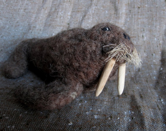 Needle Felted WALRUS sculpture with wooden tusks and whiskers.