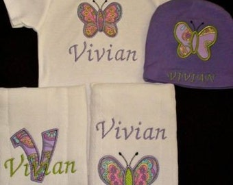 Personalized Baby Girl Initial Gift Set Bodysuit Hat 2 Burp cloths