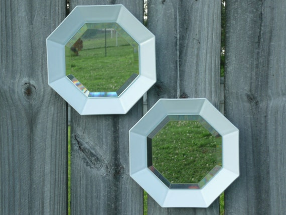 Octagon Shaped Mirrors Wall Hanging White