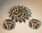 Vintage 1950s Weiss Brooch Earrings - Black Diamond Rhinestone Set Smokey Grey 1960s