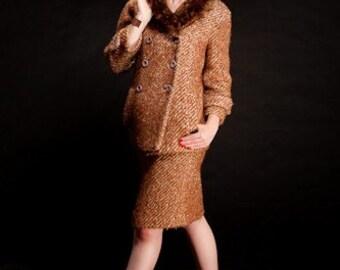 Vintage 1960s Barberini Skirt Suit - Italian Beaver Fur Collar - Winter Fashions