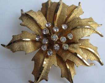 Vintage 1960s Poinsettia Brooch - B.S.K. Rhinestone Floral Pin - Mad Men Fashions